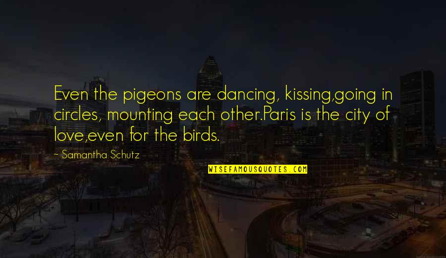Going In Circles Love Quotes By Samantha Schutz: Even the pigeons are dancing, kissing,going in circles,