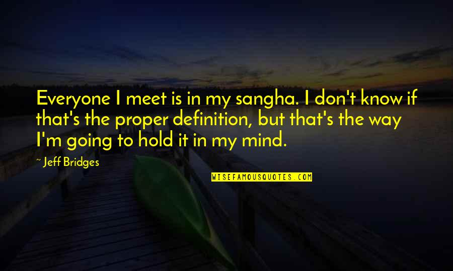 Going My Way Quotes By Jeff Bridges: Everyone I meet is in my sangha. I
