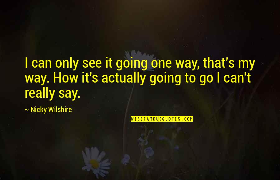 Going My Way Quotes By Nicky Wilshire: I can only see it going one way,