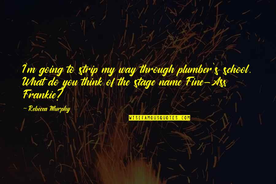 Going My Way Quotes By Rebecca Murphy: I'm going to strip my way through plumber's