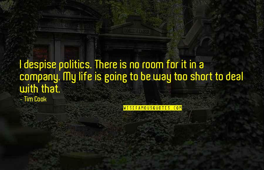 Going My Way Quotes By Tim Cook: I despise politics. There is no room for