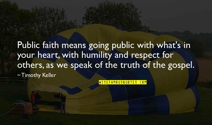 Going Public Quotes By Timothy Keller: Public faith means going public with what's in