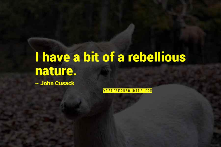 Going The Extra Mile Quotes By John Cusack: I have a bit of a rebellious nature.