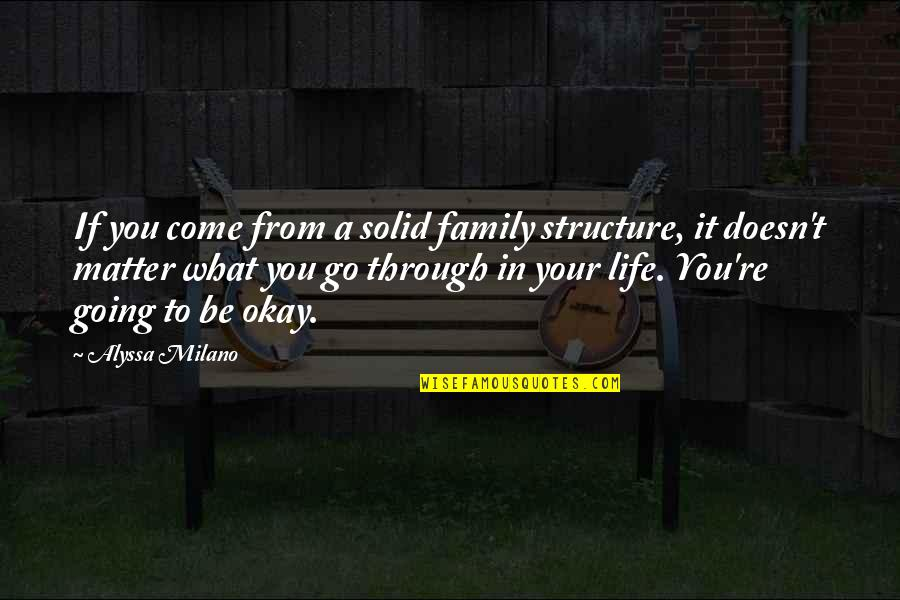 Going Through Life Quotes By Alyssa Milano: If you come from a solid family structure,