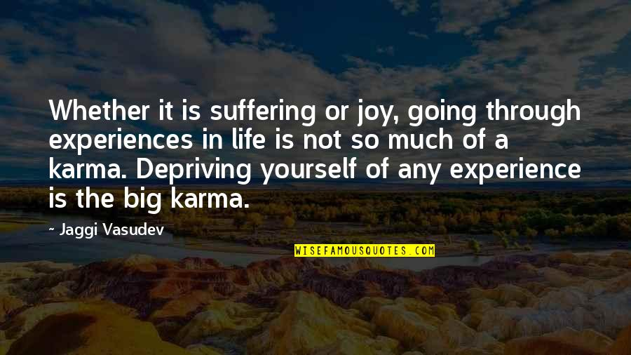 Going Through Life Quotes By Jaggi Vasudev: Whether it is suffering or joy, going through