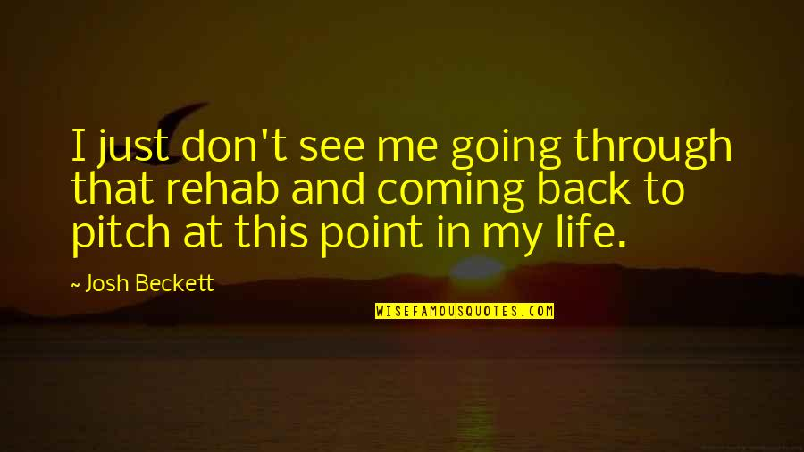 Going Through Life Quotes By Josh Beckett: I just don't see me going through that