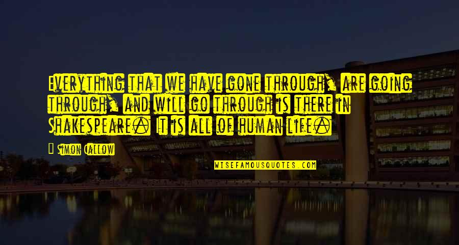 Going Through Life Quotes By Simon Callow: Everything that we have gone through, are going