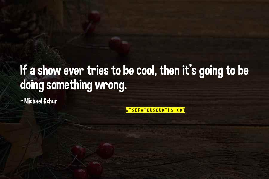 Going's Quotes By Michael Schur: If a show ever tries to be cool,