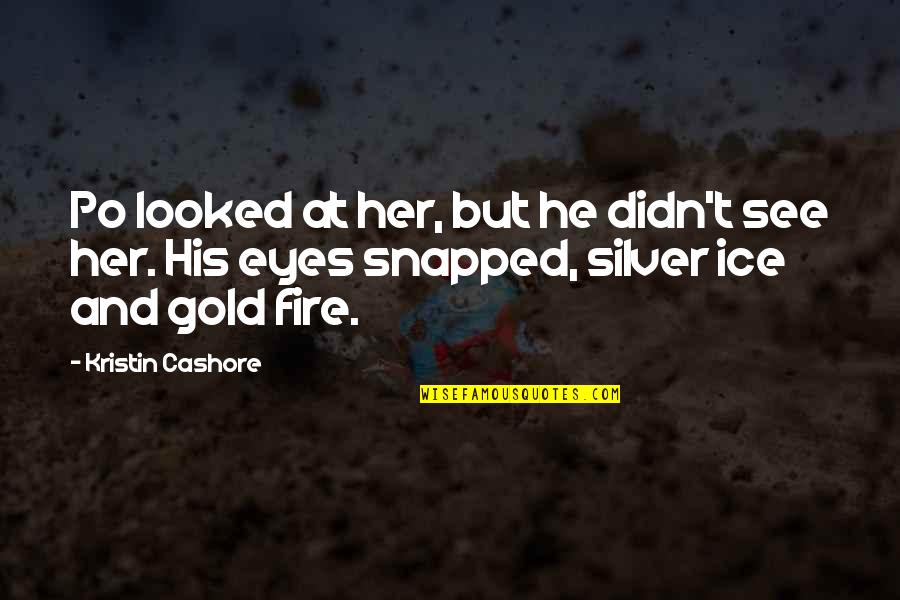 Gold And Silver Quotes By Kristin Cashore: Po looked at her, but he didn't see