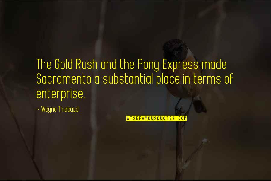 Gold Rush Quotes By Wayne Thiebaud: The Gold Rush and the Pony Express made
