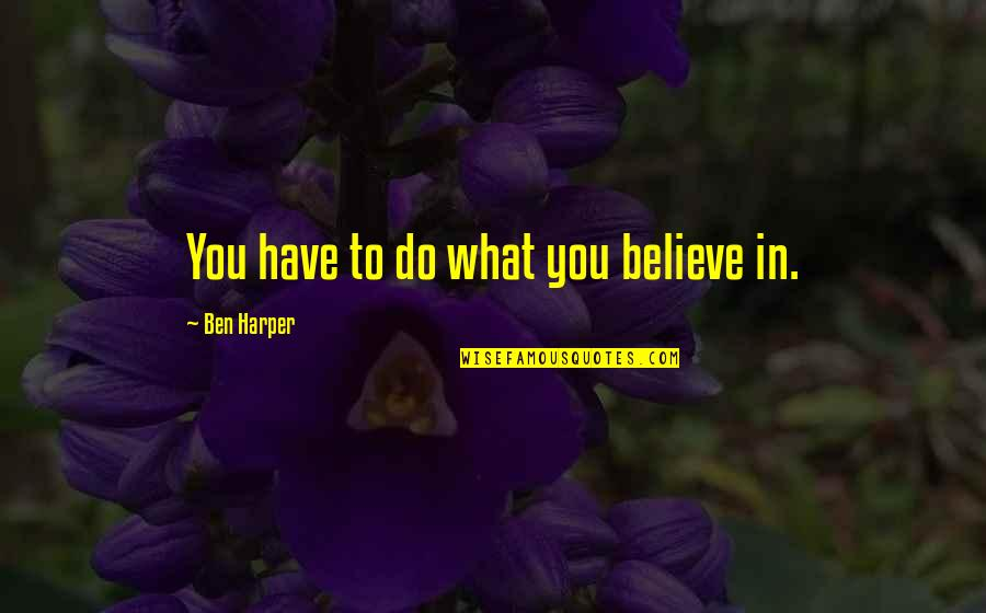 Goldbach Conjecture Quotes By Ben Harper: You have to do what you believe in.