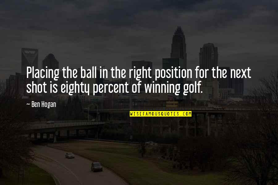 Golf Ball Quotes By Ben Hogan: Placing the ball in the right position for