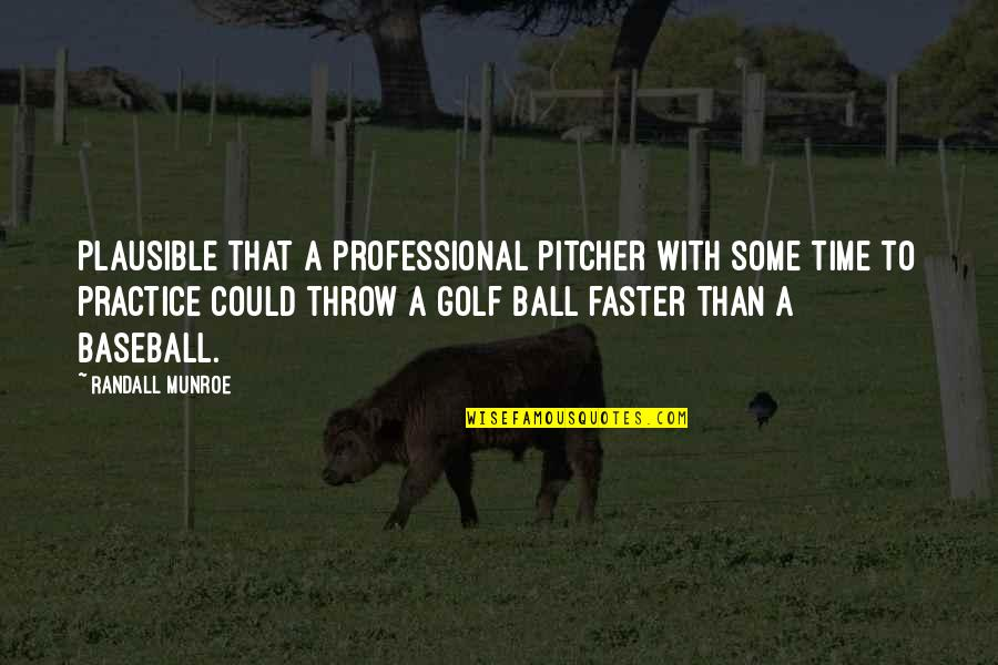 Golf Ball Quotes By Randall Munroe: Plausible that a professional pitcher with some time