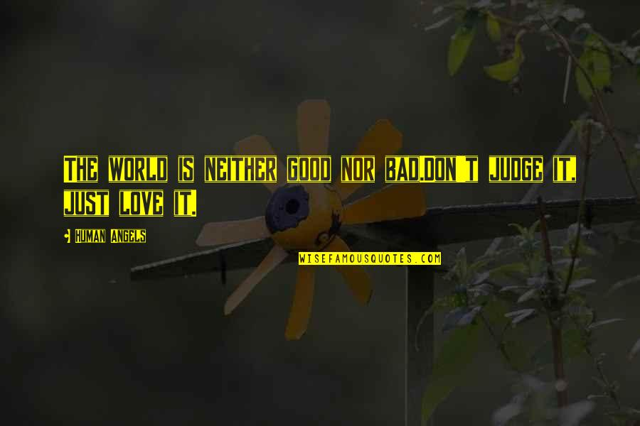 Good And Bad In The World Quotes By Human Angels: The world is neither good nor bad.Don't judge