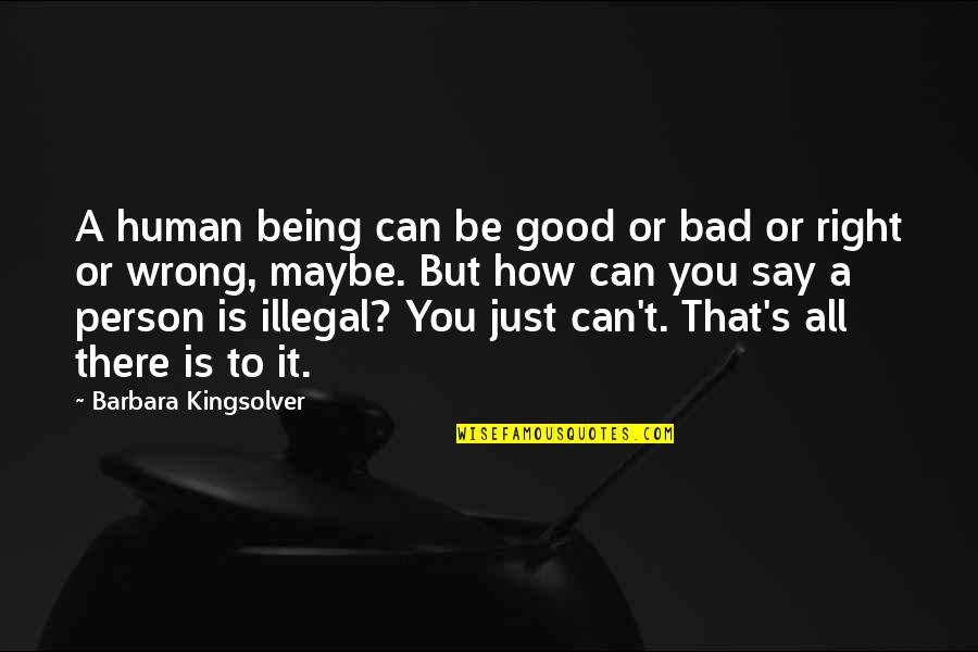 Good Bad Person Quotes By Barbara Kingsolver: A human being can be good or bad