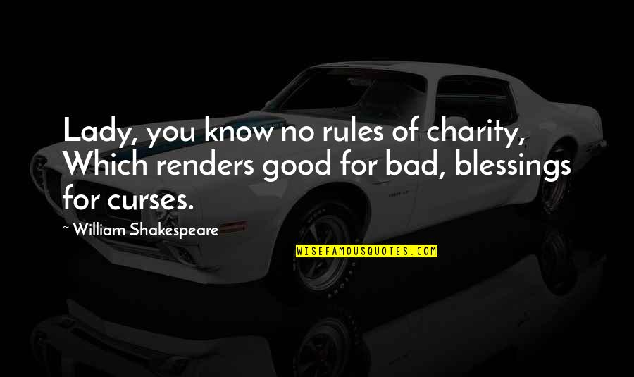 Good Charity Quotes By William Shakespeare: Lady, you know no rules of charity, Which