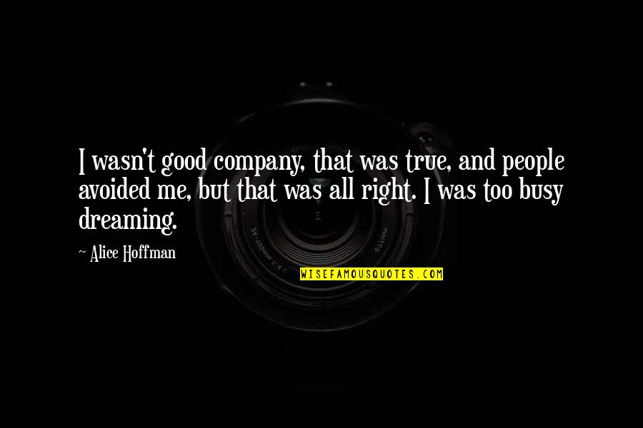Good Company Quotes By Alice Hoffman: I wasn't good company, that was true, and