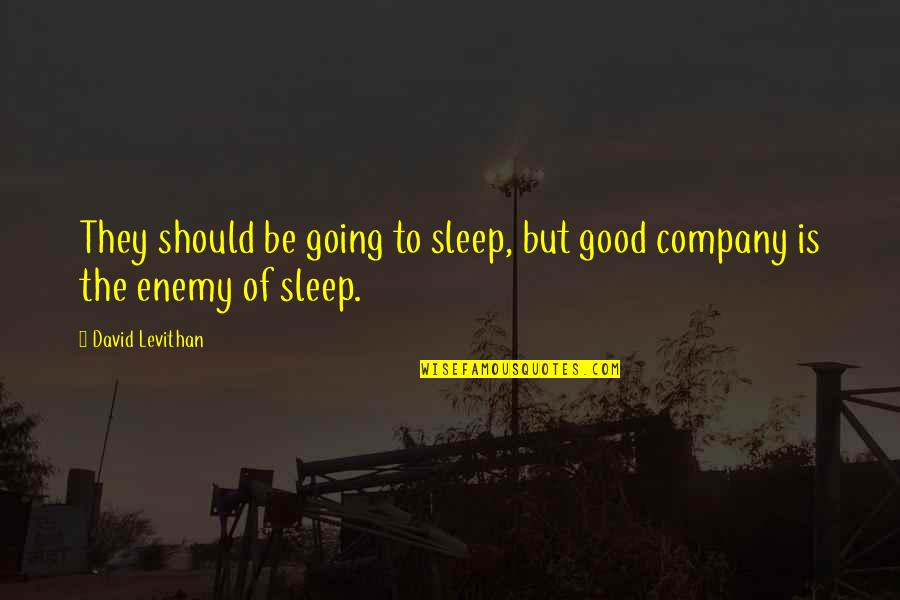 Good Company Quotes By David Levithan: They should be going to sleep, but good