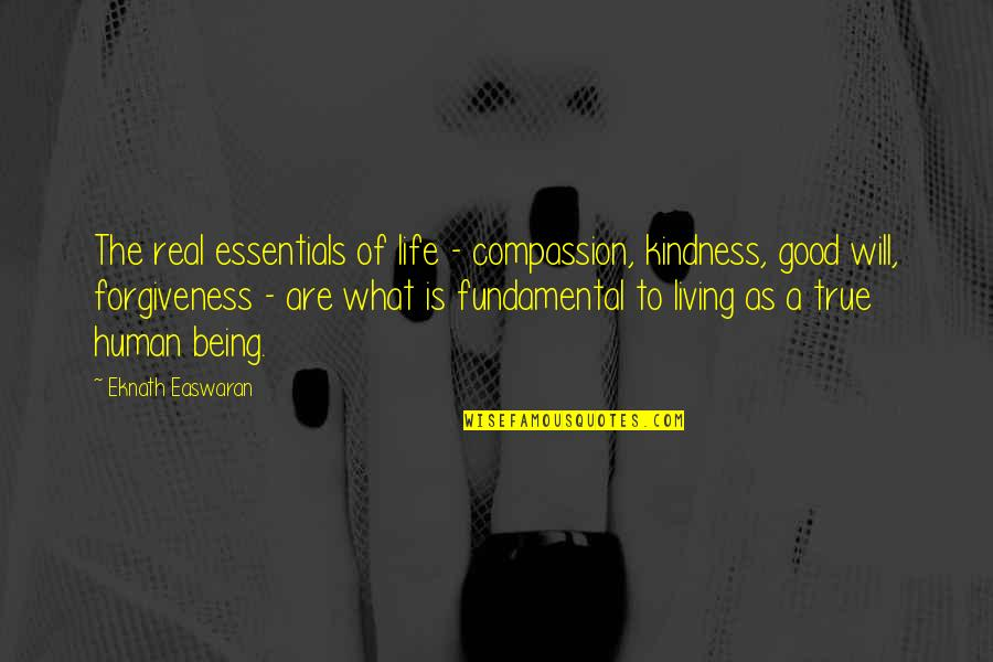 Good Forgiveness Quotes By Eknath Easwaran: The real essentials of life - compassion, kindness,