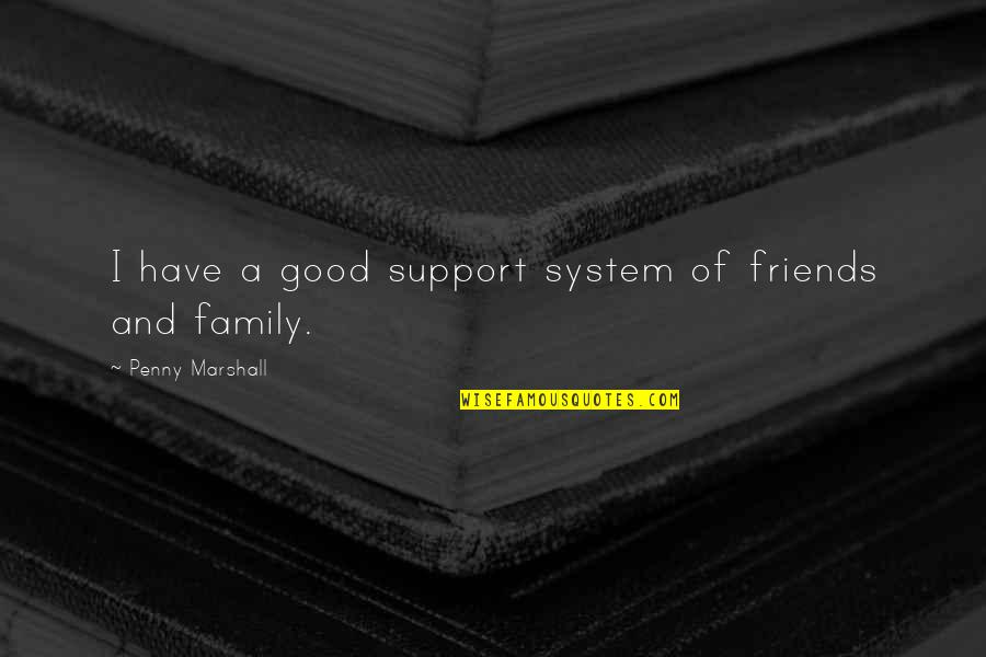 Good Friends Are Family Quotes By Penny Marshall: I have a good support system of friends