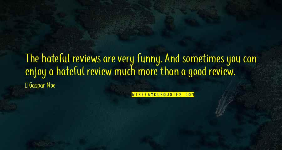 Good Funny Quotes By Gaspar Noe: The hateful reviews are very funny. And sometimes