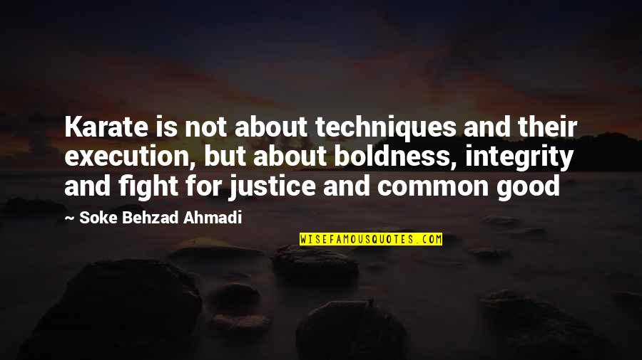 Good Karate Quotes By Soke Behzad Ahmadi: Karate is not about techniques and their execution,