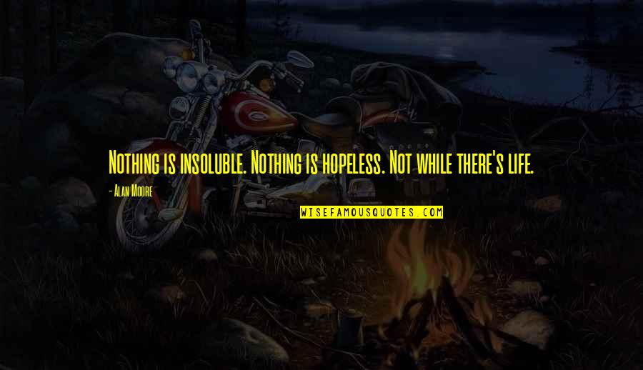Good Looking Body Quotes By Alan Moore: Nothing is insoluble. Nothing is hopeless. Not while