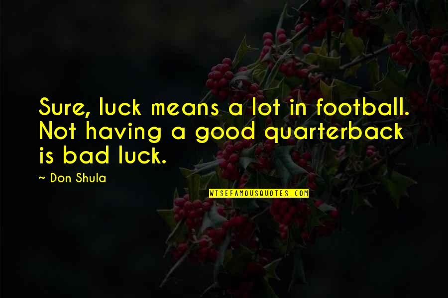 Good Luck Quotes By Don Shula: Sure, luck means a lot in football. Not
