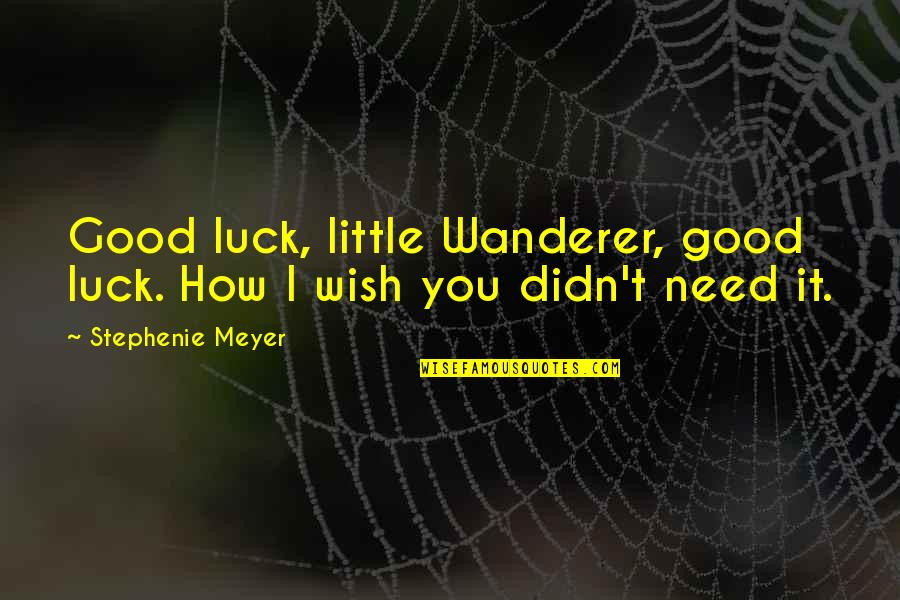 Good Luck Quotes By Stephenie Meyer: Good luck, little Wanderer, good luck. How I
