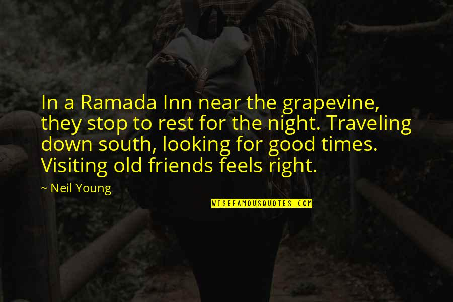 Good Night Out With Friends Quotes By Neil Young: In a Ramada Inn near the grapevine, they
