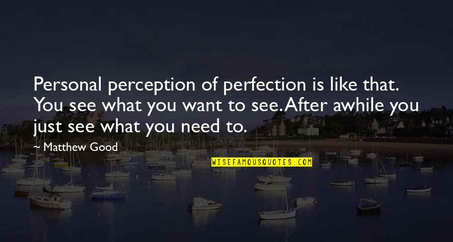 Good Personal Quotes By Matthew Good: Personal perception of perfection is like that. You