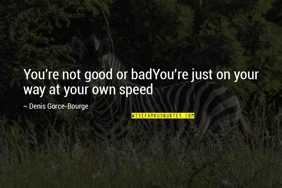 Good Quotes Quotes By Denis Gorce-Bourge: You're not good or badYou're just on your