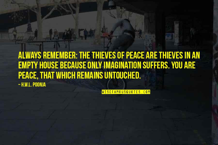Good Remember Me Quotes By H.W.L. Poonja: Always remember: The thieves of Peace are thieves