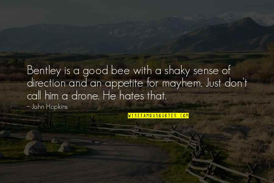 Good Sense Of Humor Quotes By John Hopkins: Bentley is a good bee with a shaky