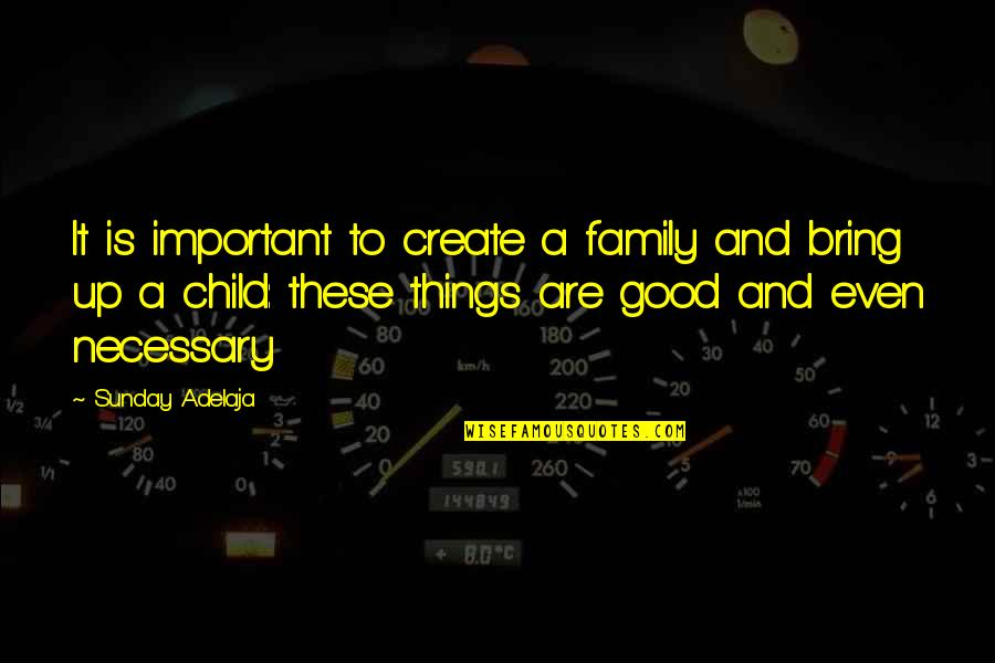 Good Sunday Quotes By Sunday Adelaja: It is important to create a family and