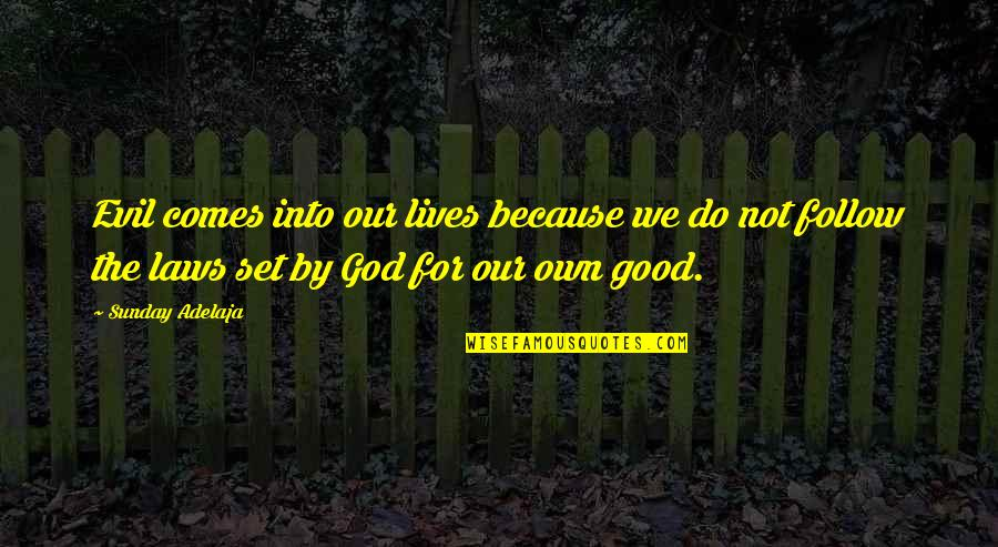 Good Sunday Quotes By Sunday Adelaja: Evil comes into our lives because we do