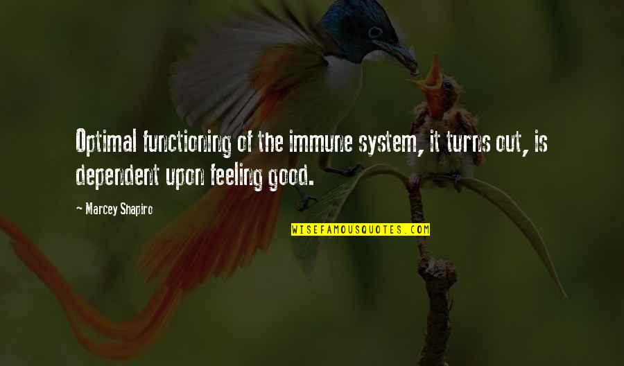 Good Well Being Quotes By Marcey Shapiro: Optimal functioning of the immune system, it turns