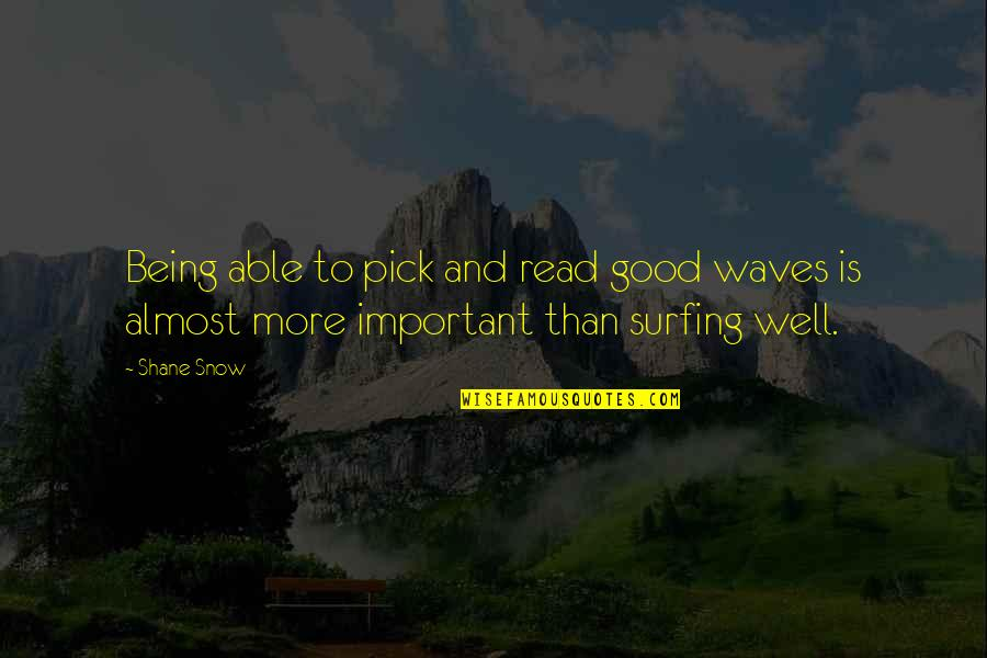 Good Well Being Quotes By Shane Snow: Being able to pick and read good waves