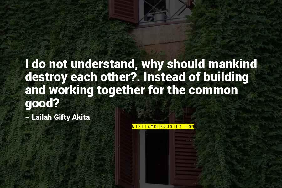Good Working Quotes By Lailah Gifty Akita: I do not understand, why should mankind destroy