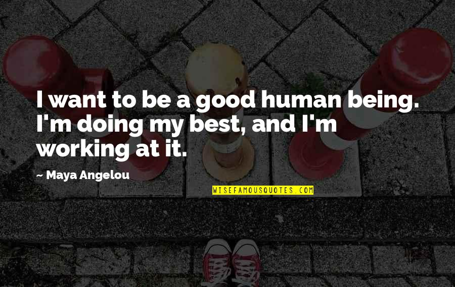 Good Working Quotes By Maya Angelou: I want to be a good human being.