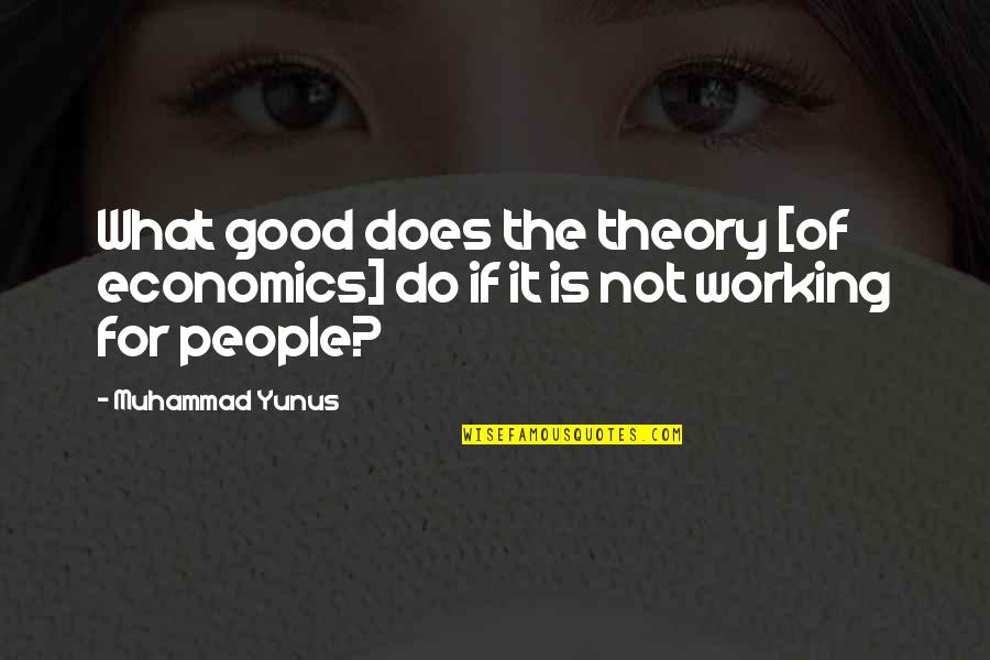 Good Working Quotes By Muhammad Yunus: What good does the theory [of economics] do