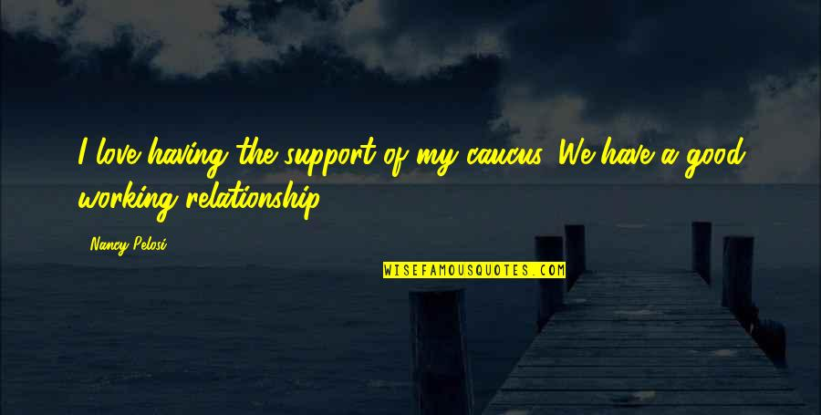 Good Working Quotes By Nancy Pelosi: I love having the support of my caucus.