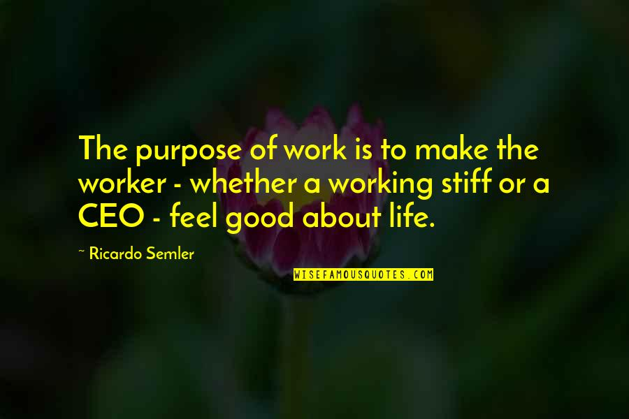 Good Working Quotes By Ricardo Semler: The purpose of work is to make the