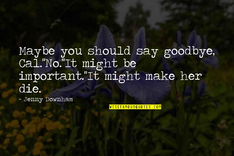 Goodbye And Death Quotes By Jenny Downham: Maybe you should say goodbye, Cal.''No.''It might be