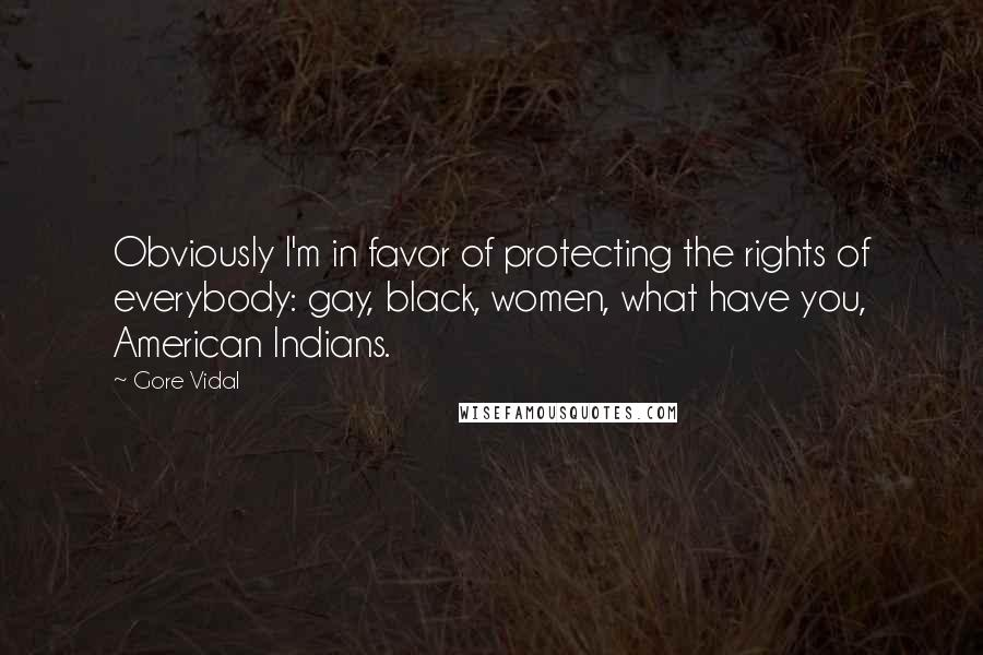 Gore Vidal quotes: Obviously I'm in favor of protecting the rights of everybody: gay, black, women, what have you, American Indians.