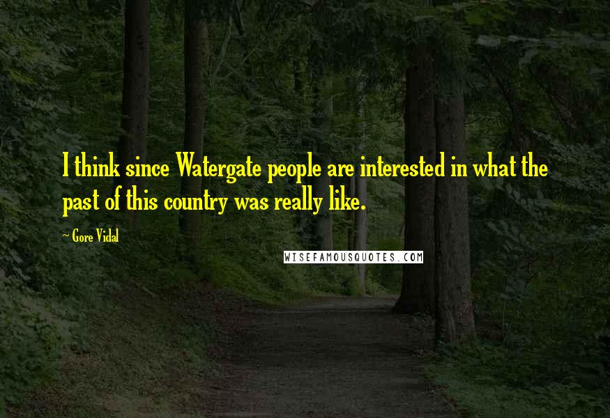 Gore Vidal quotes: I think since Watergate people are interested in what the past of this country was really like.