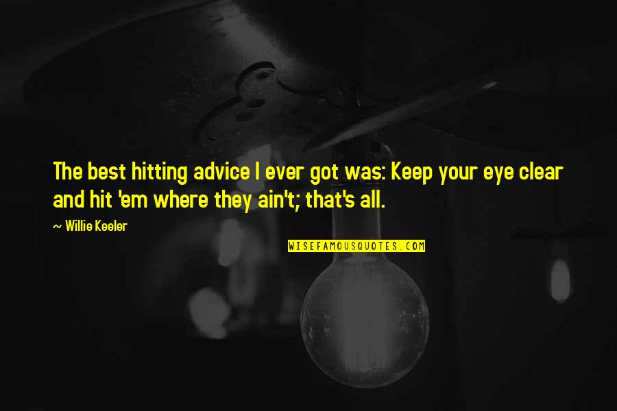 Got Em Quotes By Willie Keeler: The best hitting advice I ever got was: