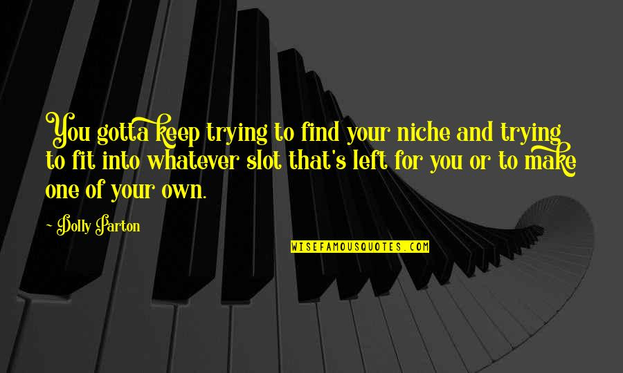 Gotta Keep Trying Quotes By Dolly Parton: You gotta keep trying to find your niche