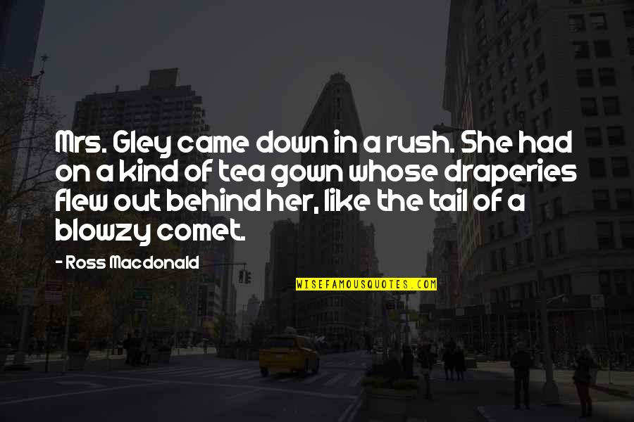 Gown Quotes By Ross Macdonald: Mrs. Gley came down in a rush. She