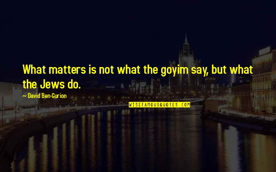 Goyim Quotes By David Ben-Gurion: What matters is not what the goyim say,